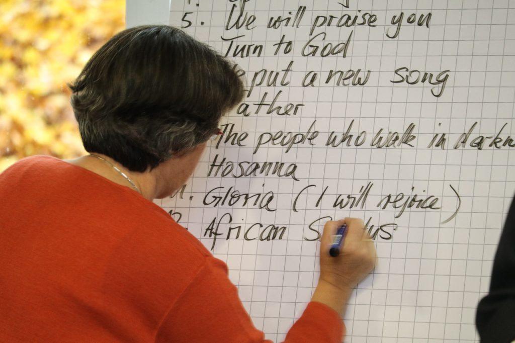 Ulla notiert die (wie immer völlig unverbindliche) Reihenfolge der Lieder bei dem Konzert. Foto: Kultur Pur/Ulrich Bock